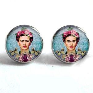 Jewelry - Silver Frida Khalo Feminist Round Stud Earrings